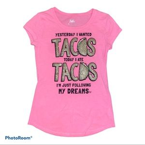 Justice Tacos Tee Pink and Glitter Gold Size 10